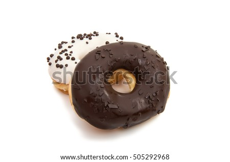 delicious donuts in color glaze isolated on white background