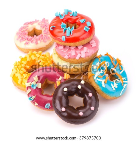 Delicious Donuts isolated on white background - stock photo