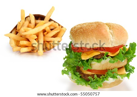 Delicious double cheeseburger and fries studio isolated on white background