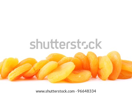 delicious dried apricots isolated on white - stock photo