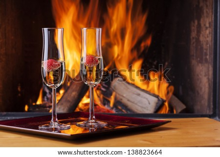 delicious drinks at a cozy fireplace - stock photo