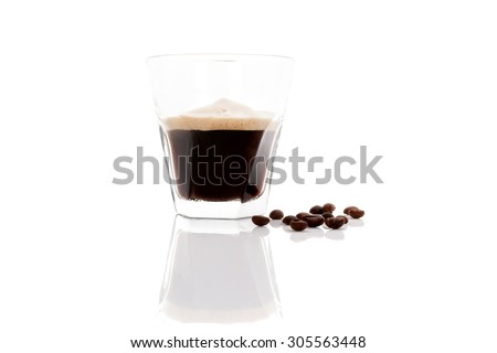 Delicious espresso with coffee beans isolated on white background. Traditional coffee drinking.  - stock photo
