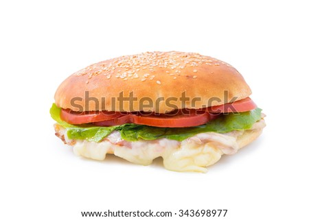 Delicious fast food sandwich with cheese, lettuce and tomato