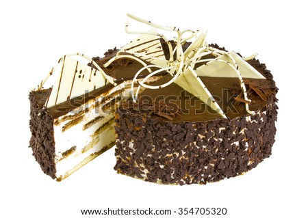 Delicious festive biscuit cake with chocolate isolated on white background - stock photo