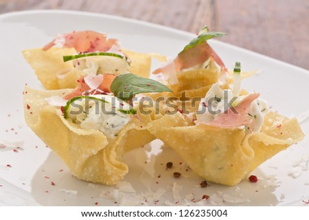 delicious finger food or wan tan tapas - stock photo