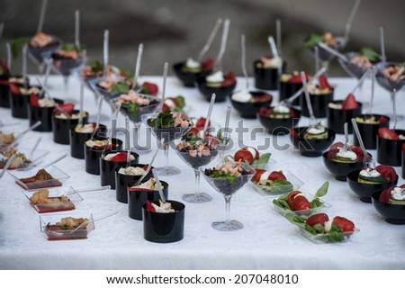 delicious finger foods for events appetizers - stock photo