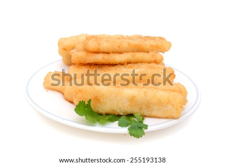 delicious fish sticks with cilantro on plate isolated on white - stock photo
