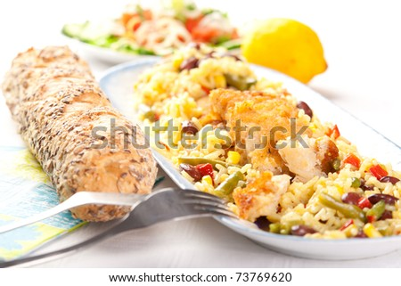 Delicious fish with rice and vegetables