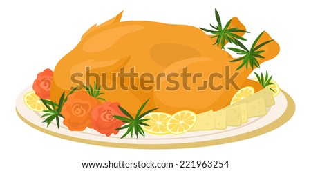 Delicious food on plate, roasted turkey with cheese, lemons, rosemary and roses of vegetables, isolated on white background. - stock photo