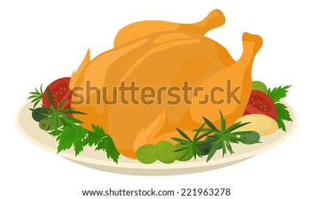 Delicious food on plate, roasted turkey with tomatoes, rosemary, parsley, olives and Brussels sprouts, isolated on white background. - stock photo