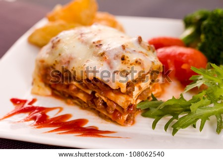 delicious food spaghetti pasta /lasagna with meat sauce