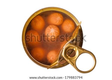Delicious frankfurters in an opened can on white isolated background. - stock photo