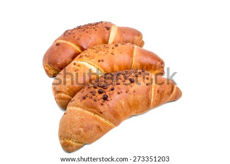 Delicious french croissants for breakfast. Isolated on a white background.