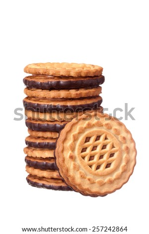 Delicious fresh biscuits with chocolate filling on a white background