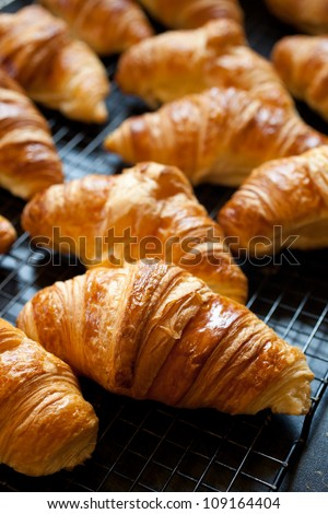 Delicious fresh croissants just out of the oven - stock photo