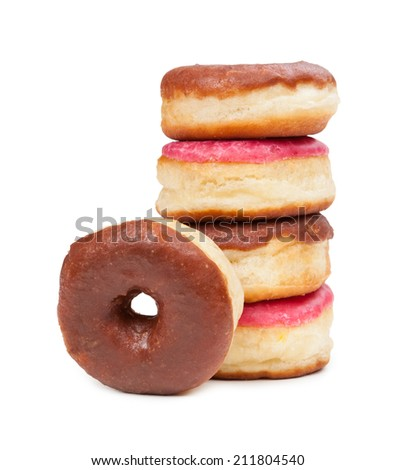 Delicious fresh donuts isolated on white background - stock photo