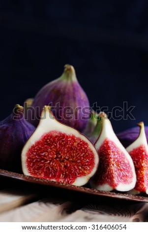 delicious fresh figs - fruits and vegetables - stock photo