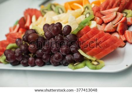 Delicious  fresh fruit platter - stock photo