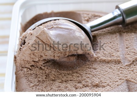 Delicious fresh homemade chocolate ice cream - summer dessert - stock photo