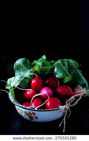 Delicious Fresh radishes from the garden on black background - stock photo