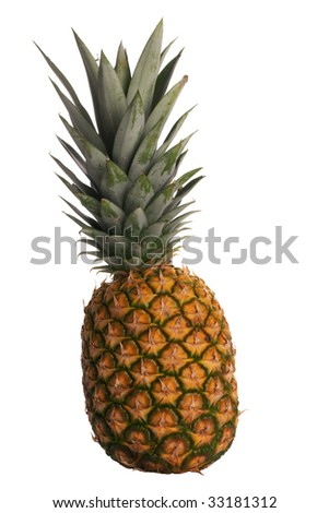 Delicious fresh ripe pineapple isolated on white background.