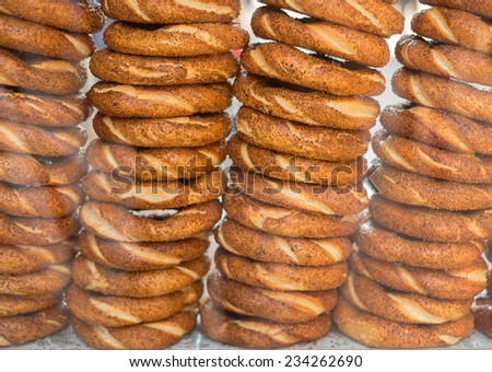 Delicious fresh Turkish bagels (also called simits) - stock photo