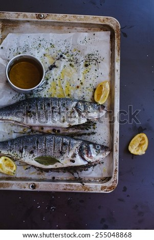 Delicious fresh two fish on dark vintage metal background.  Sea bass with aromatic herbs, spices, olive oil  and vegetables - healthy food, diet or cooking concept. See series. - stock photo