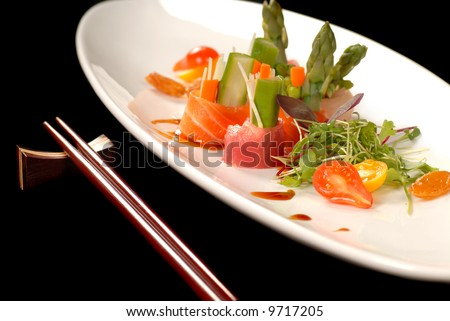 Delicious freshly made japanese sashimi with chop sticks along side