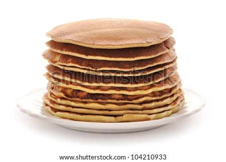 Delicious freshly prepared pancakes isolated on white