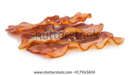 delicious fried bacon on a white background isolated.