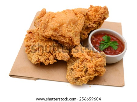 delicious fried chicken and sauce isolated on white  - stock photo