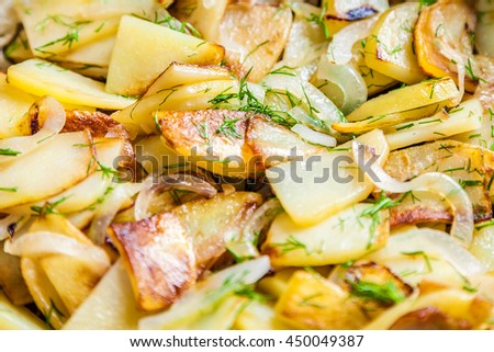 Delicious Fried Potatoes With Onion And Fresh Dill Closeup Selective Focus Very Shallow Depth