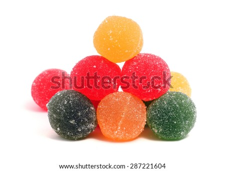 delicious fruit candy on a white background