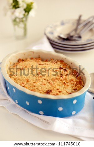 Delicious fruit crumble  in a dish