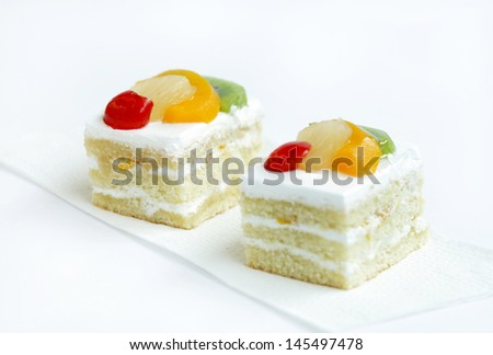 Delicious fruit pastry, selective focus