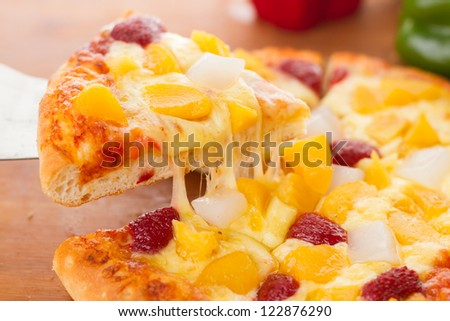 Delicious fruit pizza, vegetarian pizza - stock photo