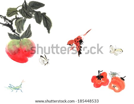 delicious fruits of painting--persimmon, peach with bird and insect