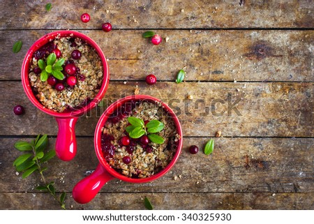 delicious gluten free cranberry  crumble pie , top view - stock photo