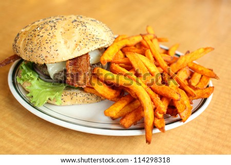 Delicious gourmet hamburger served with sweet potato French fries at a restaurant. - stock photo