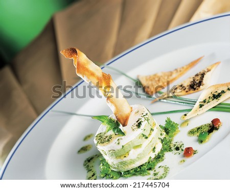Delicious gourmet plate with texture and color - stock photo