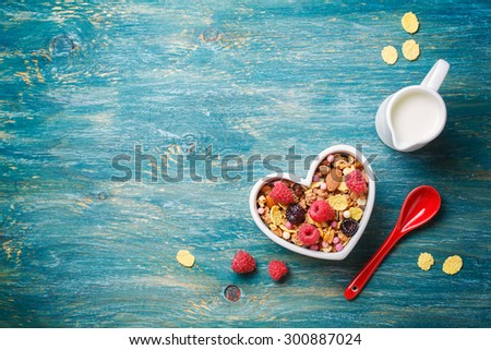Delicious granola with berries. Food background with copyspace - stock photo