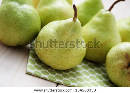 delicious green pears - fruits and vegetables - stock photo