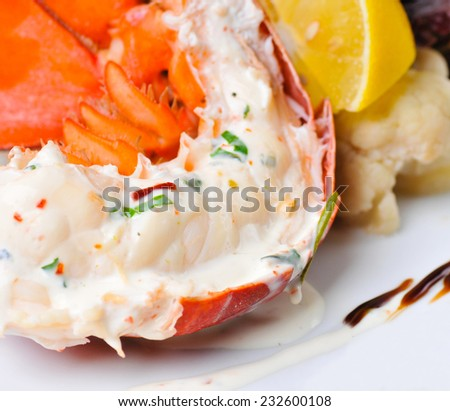 Delicious grilled lobster tails.  - stock photo