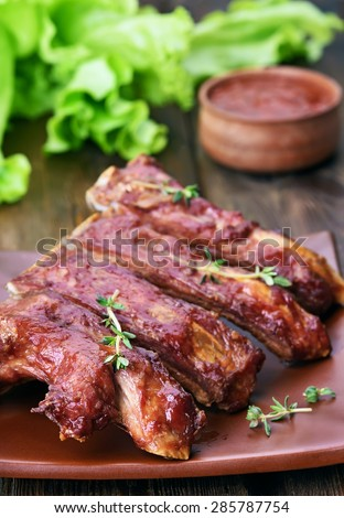 Delicious grilled pork ribs, close up view - stock photo