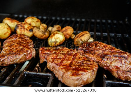delicious grilled rump steak on barbecue