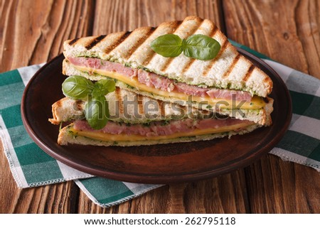 Delicious grilled sandwich with ham, cheese and basil close-up on a plate. horizontal  - stock photo