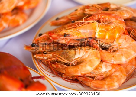 Delicious grilled shrimp - stock photo