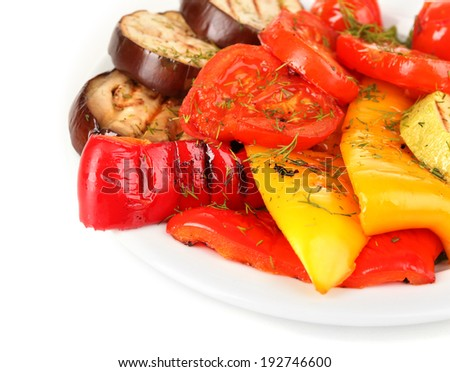 Delicious grilled vegetables on plate isolated on white - stock photo