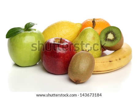 Delicious group of healthy fruits isolated on white