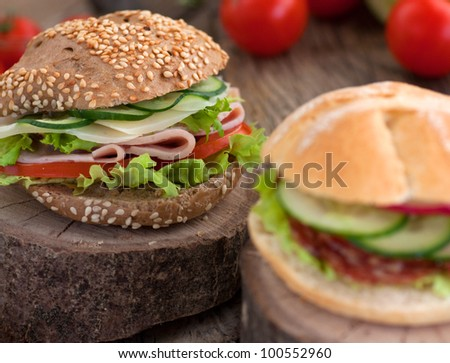 Delicious ham, cheese and salami sandwich with vegetables, lettuce, cherry tomatoes in natural setting with wooden background